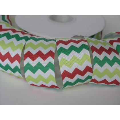 "5 yards 1.5"" Holiday Chevron Print Grosgrain Ribbon"