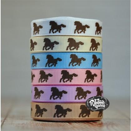 """5 yards 3/8"""" Brown Horse Print Grosgrain Ribbon"""