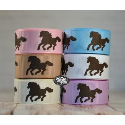 """5 yards 7/8"""" Brown Horse Print Grosgrain Ribbon"""