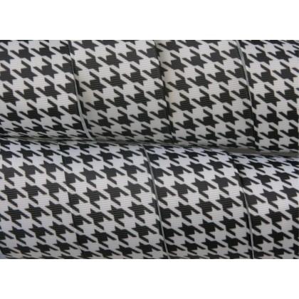 """1.5"""" Black & White Houndstooth Print Grosgrain Ribbon"""
