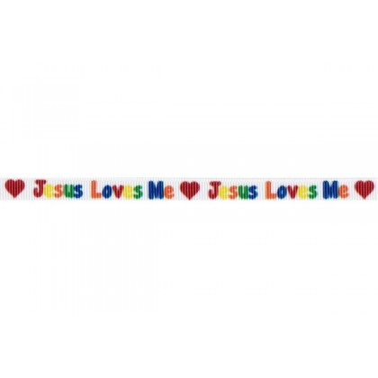 "3/8"" Jesus Loves Me Print Grosgrain Ribbon"