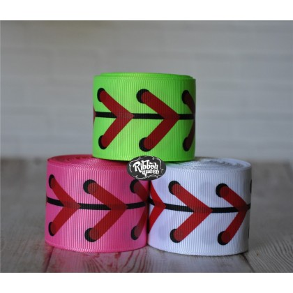 "5 yards 1.5"" Baseball & Softball Laces Print Grosgrain Ribbon"