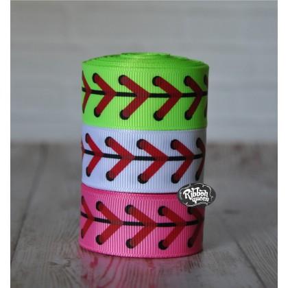 "5 yards 7/8"" Baseball & Softball Laces Print Grosgrain Ribbon"