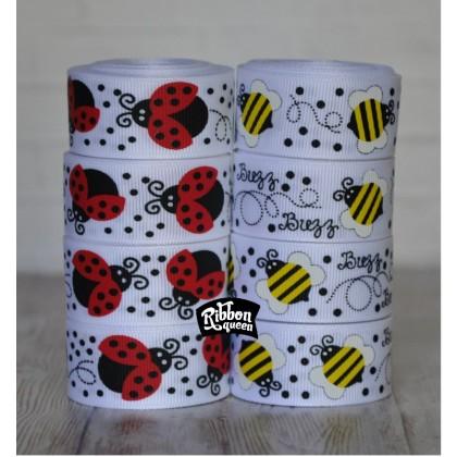 "7/8"" Ladybugs & Bees Grosgrain Ribbon"