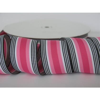 """5 yards 1.5"""" Pink Licorice Stripe Grosgrain Ribbon"""