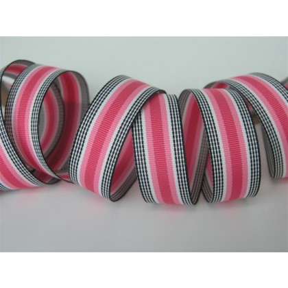 "5 yards 7/8"" Pink Licorice Stripe Grosgrain Ribbon"