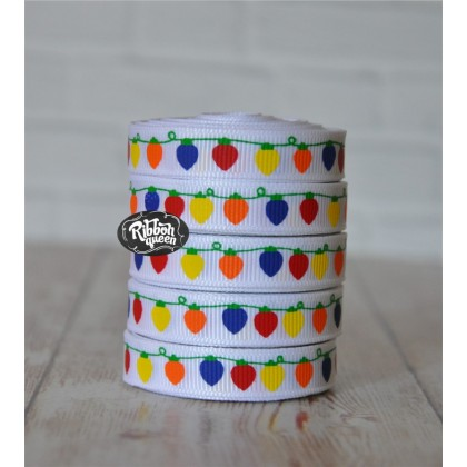 "5 yards 3/8"" Bright Lights Print Grosgrain Ribbon"