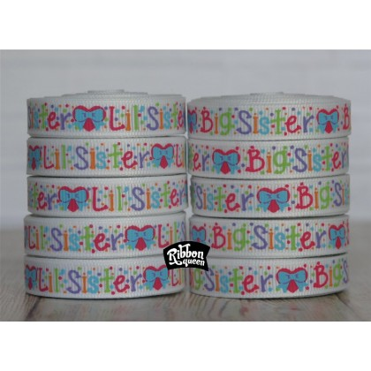 "5 yards 3/8"" New  Sisters Print Grosgrain Ribbon"