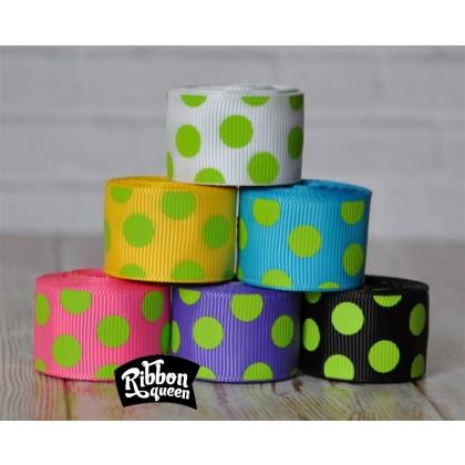 "5 yards 7/8"" Lime Funky Dots Grosgrain Ribbon"
