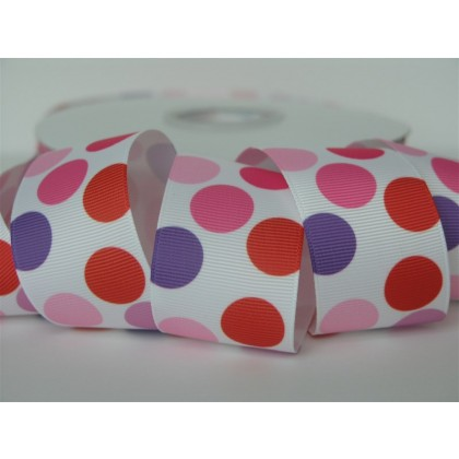 "5 yards 1.5"" Love Funky Dot Print Grosgrain Ribbon"