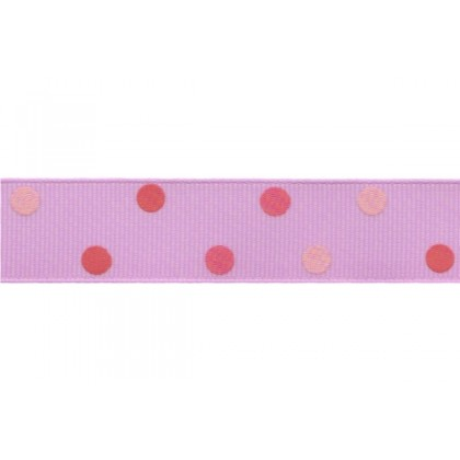 "5 yards 7/8"" Triple Pink Polka Dots Grosgrain Ribbon"