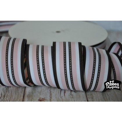 "5 yards 1.5"" Yummy Pale Pink & Brown Stitch Stripe Grosgrain Ribbon"