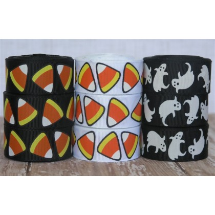 "5 yards 7/8"" Halloween Candy Corn & Ghost Grosgrain Ribbon"