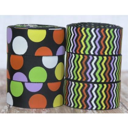 "5  yards 7/8"" Halloween Chevron Stripe & Funky Dot Print Grosgrain Ribbon"