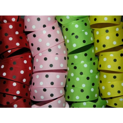 "7/8"" Minnie Dots Print Grosgrain Ribbon"
