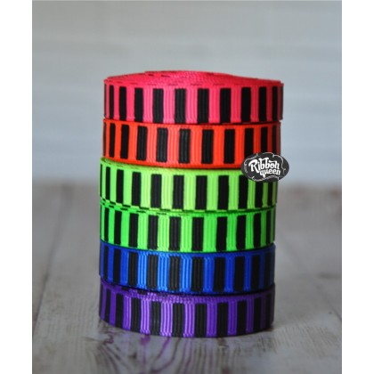 "5 yards 3/8"" Neon Colors Black Ink Barrel Stripe Printed Grosgrain Ribbon"