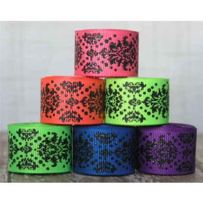 "5 yards 7/8"" Neon & Black Glitter Dottie Damask Grosgrain Ribbon"