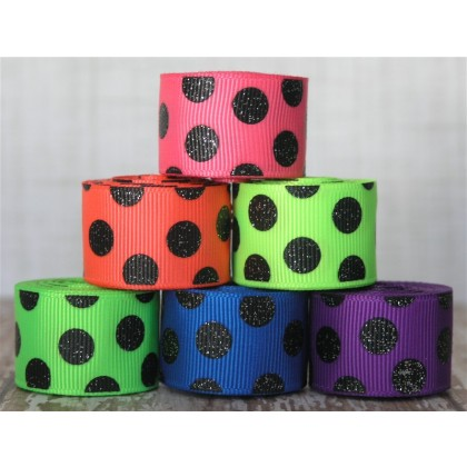 "5 yards 7/8"" Neon & Black Glitter Dots Grosgrain Ribbon"