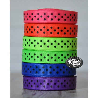 "5 yards 3/8"" Neon & Black Tiny Swiss Dot Grosgrain Ribbon"
