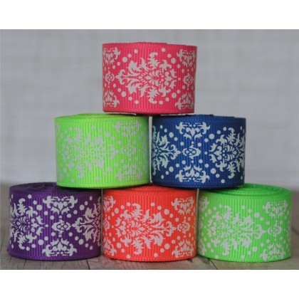 "2 yards 7/8"" Neon Dottie Damask Print Grosgrain Ribbon"