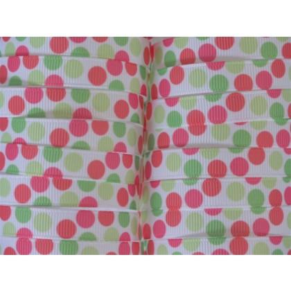 "5 yards 3/8"" Neon Funky Dot Print Grosgrain Ribbon"