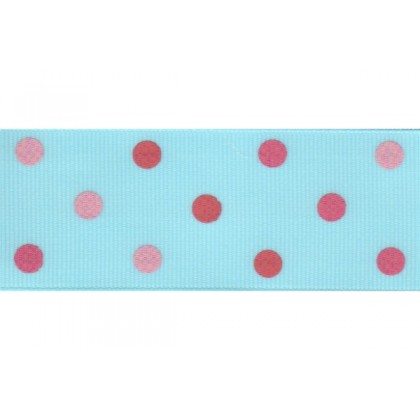 "5 yards 1.5"" Triple Pink Polka Dots Grosgrain Ribbon"
