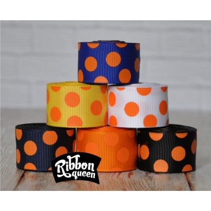 "5 yards 7/8"" Halloween Orange Funky Dots Grosgrain Ribbon"