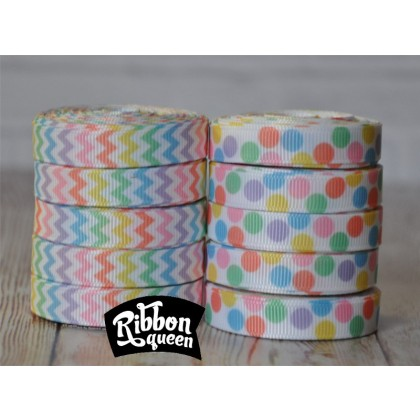 "50 yards 3/8"" Pastel Chevron & Dot Print Grosgrain Ribbon"