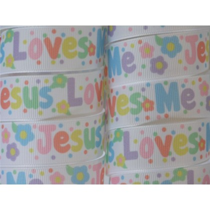 "7/8"" Pastel Jesus Loves Me Print Grosgrain Ribbon"