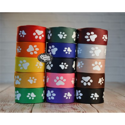 "5 yards 7/8"" Paw Print Grosgrain Ribbon"