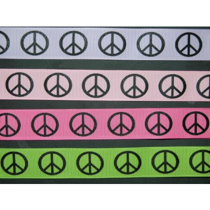 "4 yards 3/8"" Peace Sign Print Grosgrain Ribbon"