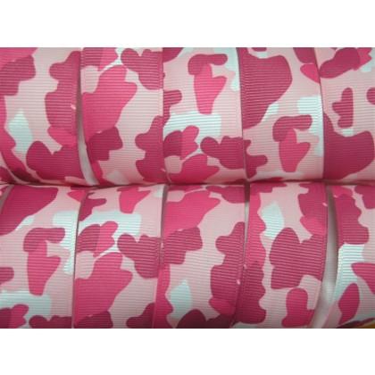 "5 yards 1"" Pink Camouflage Camo Print Grosgrain Ribbon"