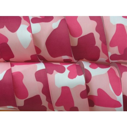 "5 yards 1.5"" Pink Camouflage Camo Print Grosgrain Ribbon"