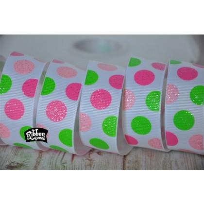 5 Yards 7 8 Quot Pink Amp Green Glitter Dots Print Grosgrain Ribbon