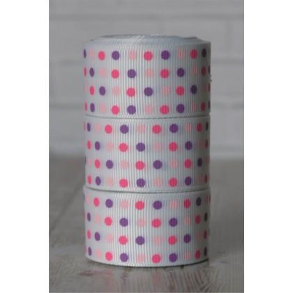 "5 yards 1"" Pink & Purple Swiss Dots Print Grosgrain Ribbon"