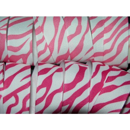 "5 yards 7/8"" Bold Zebra Print Grosgrain Ribbon"