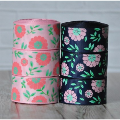 "5 yards 1"" Pink Daisy Print Grosgrain Ribbon"