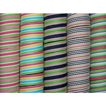 "5 yards 3/8"" Preppy Stripes Grosgrain Ribbon"