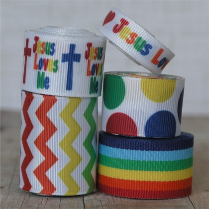 10 yards Jesus Loves Me Ribbon Mix