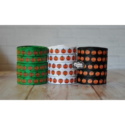 "5 yards 3/8"" Pumpkins Print Grosgrain Ribbon"