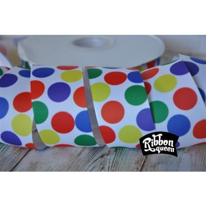 "5 yards 1.5"" Rainbow Funky Dot Print Grosgrain Ribbon"