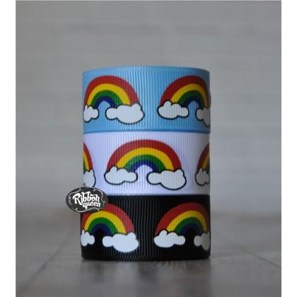 "5 yards 7/8"" Rainbow Print Grosgrain Ribbon"