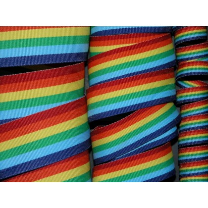 5 yards Rainbow Stripe Grosgrain Ribbon