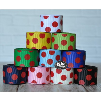 "5 yards 7/8"" Red Funky Dots Print Grosgrain Ribbon"