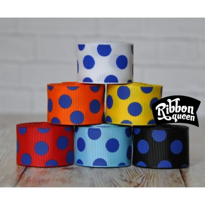 "5 yards 7/8"" Royal Blue Funky Dots Grosgrain Ribbon"