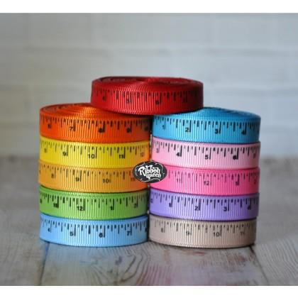 """5 yards 3/8"""" Colored School Ruler Print Grosgrain Ribbon"""