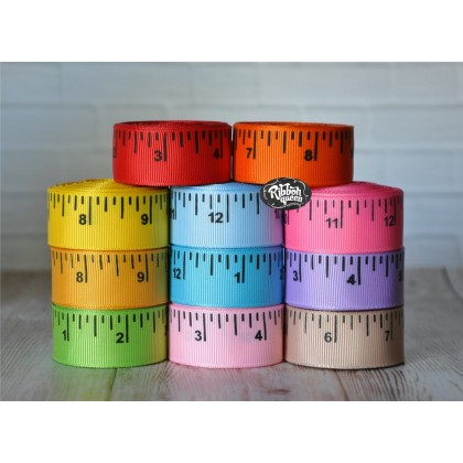 "5 yards 7/8"" Colored School Ruler Print Grosgrain Ribbon"