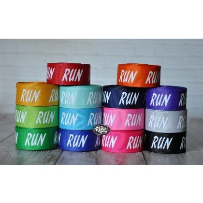 "5 yards 7/8"" Run Marathon Print Grosgrain Ribbon"
