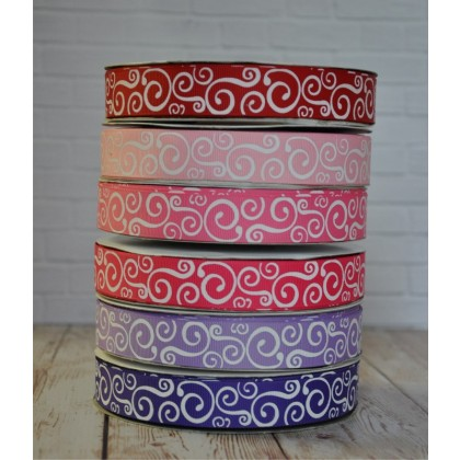 "5 yards 7/8"" Valentine's Day Scroll Print Grosgrain Ribbon"