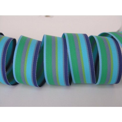 "5 yards 7/8"" Seaside Stripe Grosgrain Ribbon"